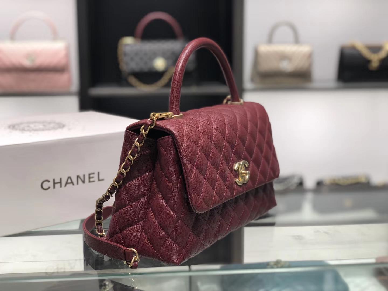 Chanel(香奈儿)coco handle # 中号 菱格包 枣红色 金扣 29cm