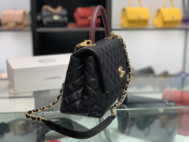 Chanel(香奈儿)coco handle # 中号 蜥蜴手柄 黑色 金扣 29cm
