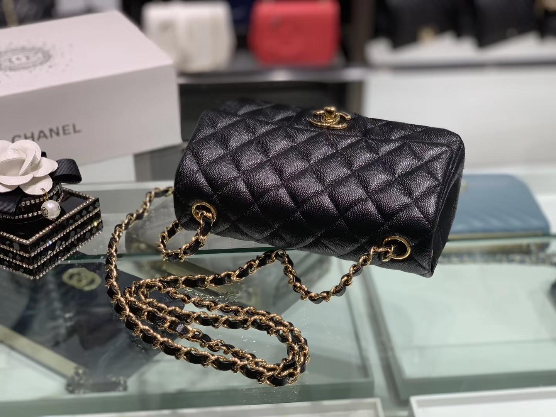 Chanel(香奈儿)cf # 链条包 细球纹 黑色 金扣 金链 20cm