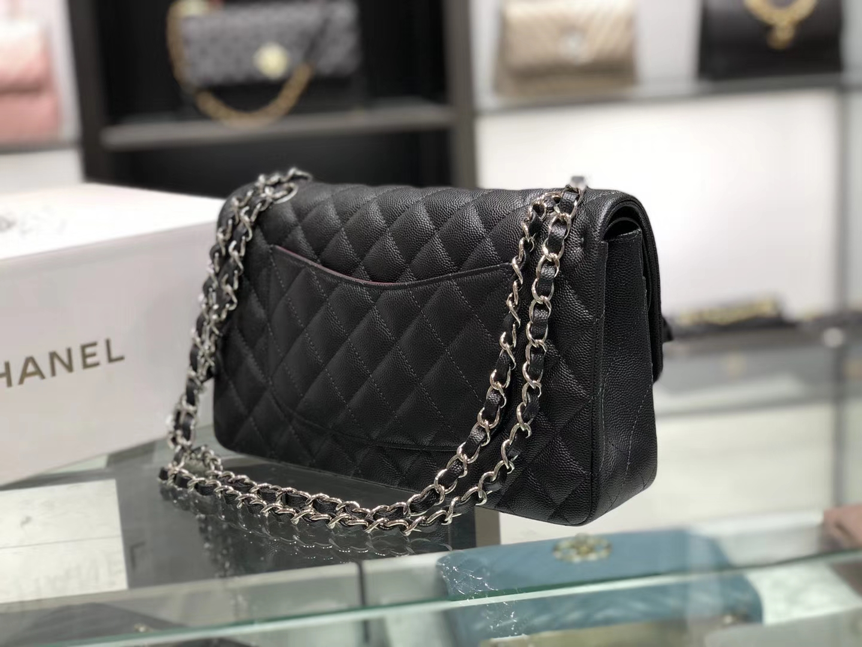 Chanel(香奈儿)cf # 链条包 黑色 细球纹 银扣 银链 25cm