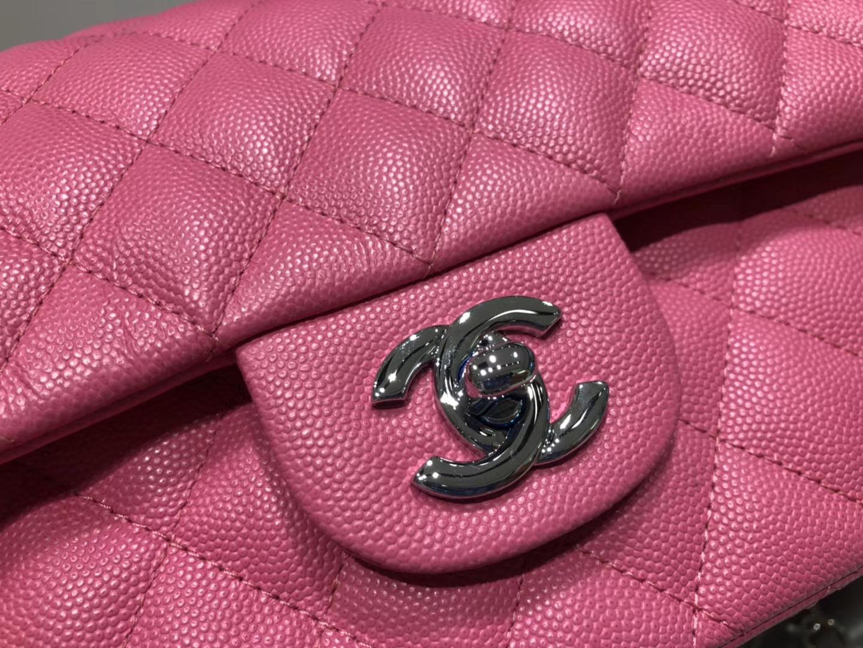 Chanel(香奈儿)cf # 链条包 玫红色 银扣 银链 25cm