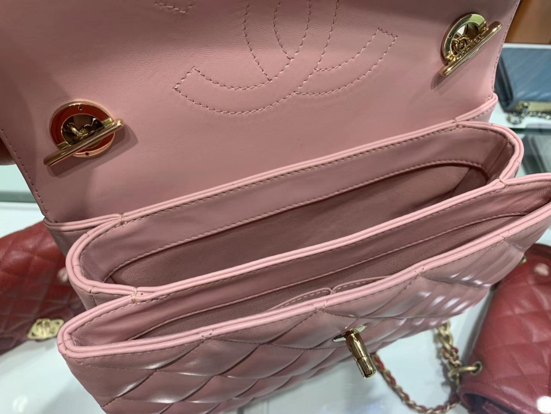Chanel(香奈儿)Trendy cc 菱格 樱花粉 羊皮搭配金扣 25cm