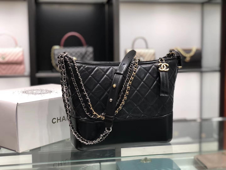 Chanel(香奈儿)𝖌𝖆𝖇𝖗𝖎𝖊𝖑𝖑𝖊 # 流浪包〔黑色菱格〕28cm