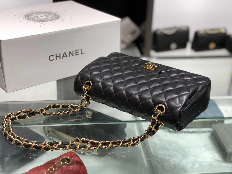Chanel(香奈儿)cf # 链条包 羊皮 黑色 金扣 金链 25cm