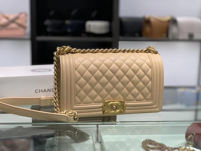 Chanel(香奈儿)Leboy # 鱼子酱配搭古金五金 杏色 25cm