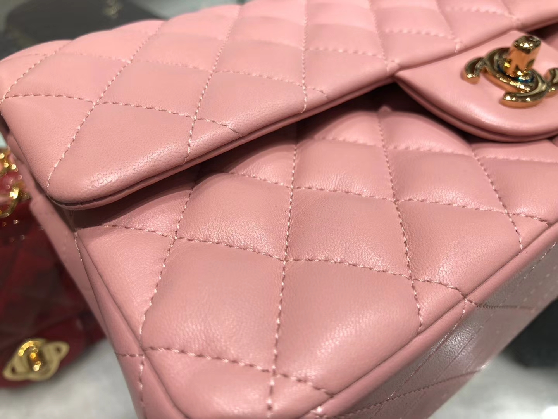 Chanel(香奈儿)cf # 链条包 粉色 金扣 金链 25cm