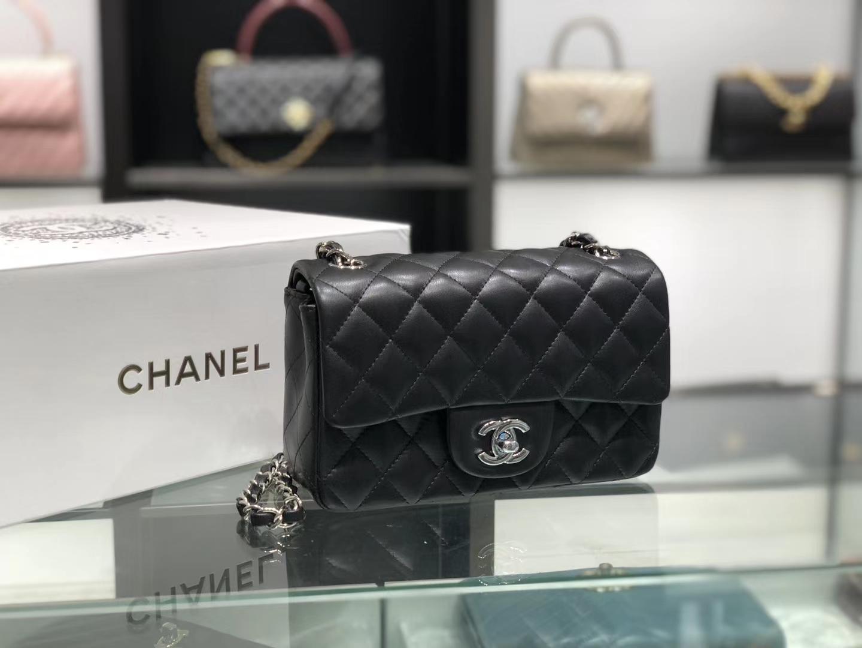 Chanel(香奈儿)cf # 链条包 羊皮 黑色 银扣 银链 20cm