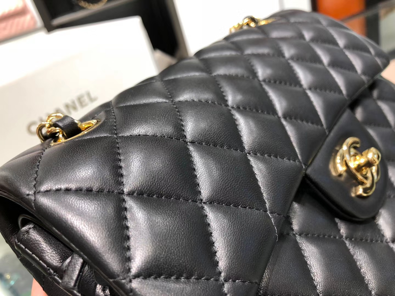 Chanel(香奈儿)cf # 链条包 羊皮 黑色 金扣 金链 23cm