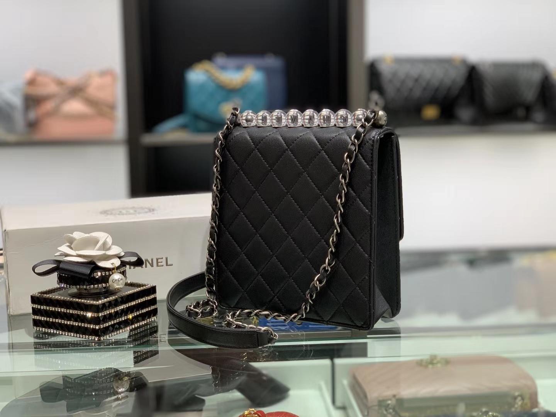 Chanel(香奈儿)𝟮𝟬𝟮𝟬 春夏升级版 透明珍珠包 黑色 银扣
