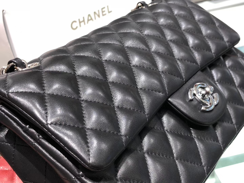 Chanel(香奈儿)cf # 链条包 羊皮 黑色 银扣 银链 25cm