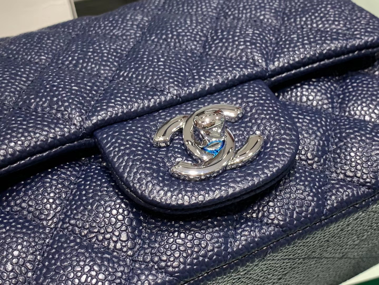 Chanel(香奈儿)cf # 链条包 深蓝色 银扣 银链 17cm