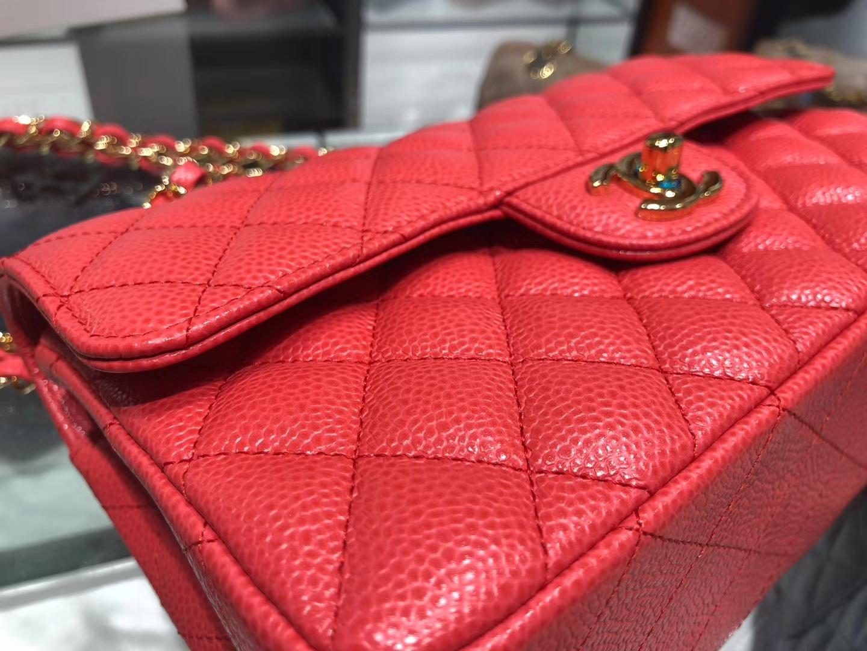 Chanel(香奈儿)cf # 链条包 中国红 金扣 金链 23cm
