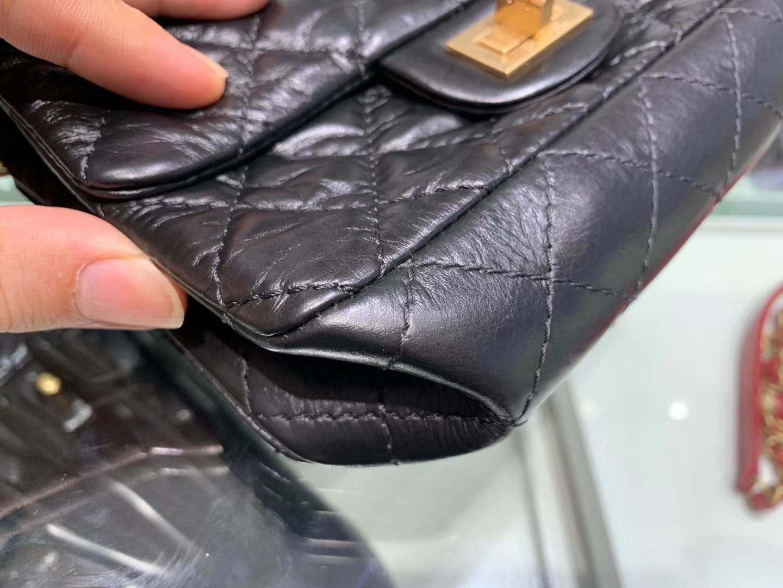Chanel(香奈儿)reissue 链条包 2.55经典复刻系列 黑色 20cm 金扣