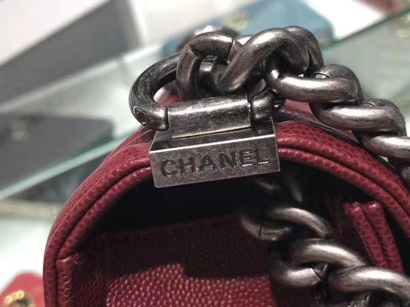 Chanel(香奈儿)Leboy # 球纹皮配搭复古银 酒红色 V纹 20cm