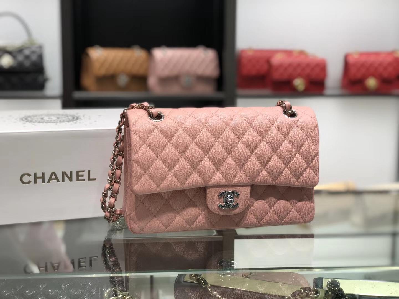 Chanel(香奈儿)cf # 链条包 藕粉色 银扣 银链 25cm
