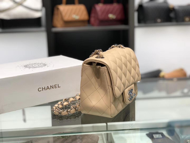 Chanel(香奈儿)cf # 链条包 杏仁黄 银扣 银链 17cm