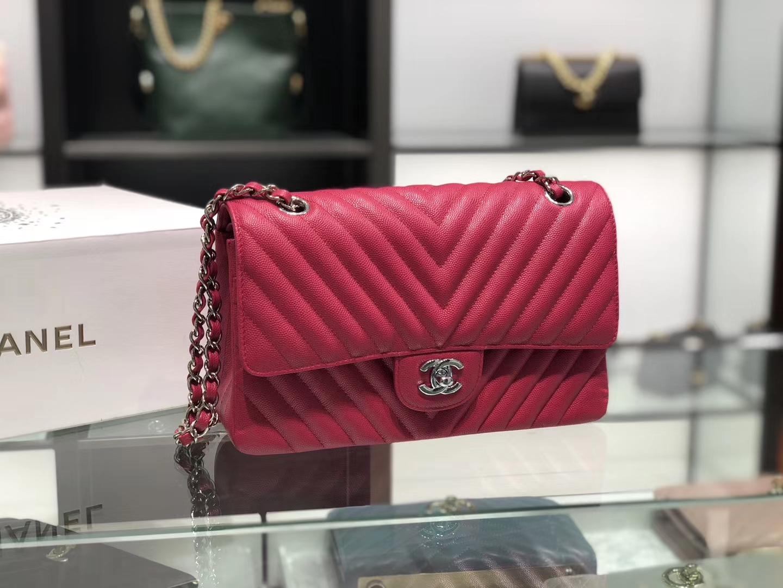 Chanel(香奈儿)cf # 链条包 桃红色 V纹 银扣 银链 25cm