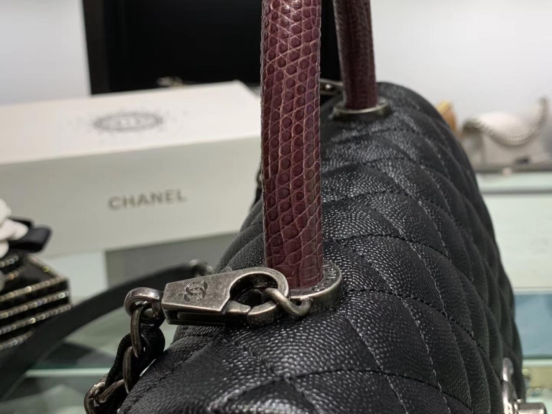 Chanel(香奈儿)coco handle # 中号 蜥蜴手柄 黑色 银扣 29cm