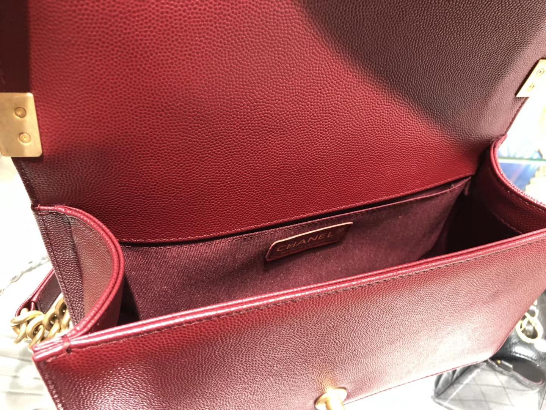Chanel(香奈儿)Leboy 球纹皮配搭复古砂金 枣红色 25cm