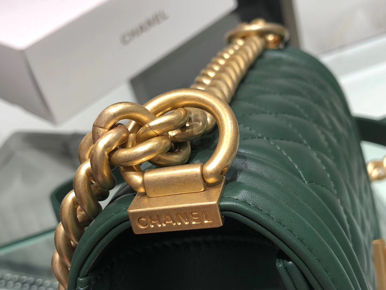 Chanel(香奈儿)Leboy # 小羊皮配搭复古砂金 墨绿色 菱格 20cm
