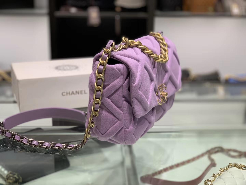 Chanel(香奈儿)马卡龙紫色 19手袋 Jersey针织面料 优雅又休闲
