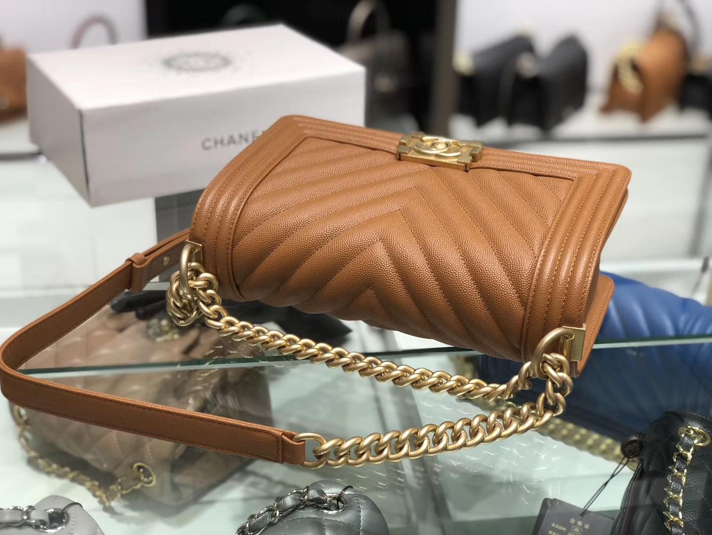 Chanel(香奈儿)Leboy # 小牛皮配搭复古砂金【V纹】金棕色 25cm