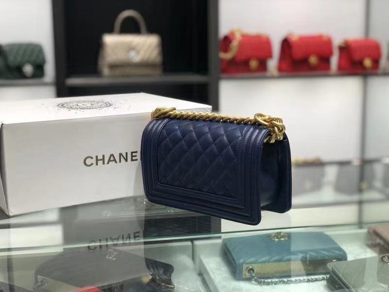 Chanel(香奈儿)Leboy # 球纹皮配搭复古金 墨蓝色  20cm