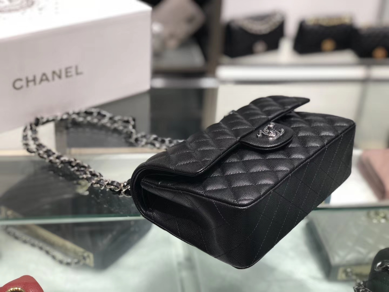 Chanel(香奈儿)cf # 链条包 黑色 银扣 银链 23cm