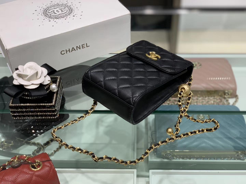 Chanel(香奈儿)小金珠系列手机包 链条包 黑色 可随意调节长短 夏日必备