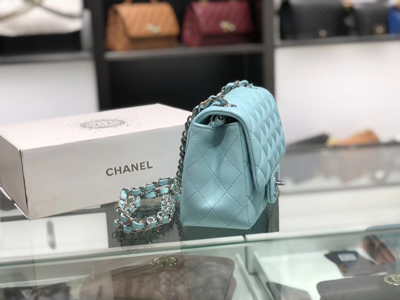 Chanel(香奈儿)cf # 链条包 薄荷蓝 小胖子 羊皮 银扣 银链 17cm