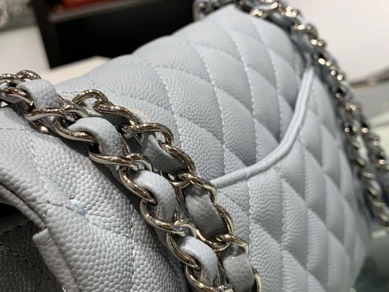 Chanel(香奈儿)cf # 链条包 浅灰蓝 银扣 银链 23cm