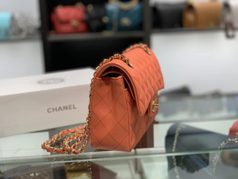 Chanel(香奈儿)cf # 链条包 橙色 金扣 金链 23cm