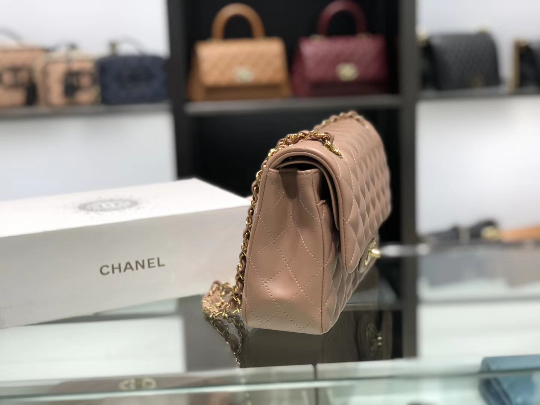 Chanel(香奈儿)cf # 链条包 卡其粉 金扣 金链 25cm