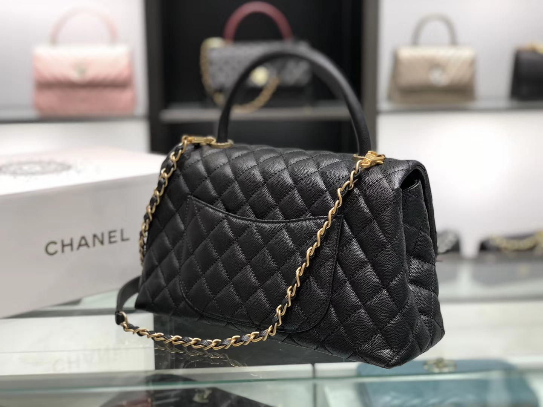 Chanel(香奈儿)coco handle # 中号 菱格包 黑色 金扣 29cm