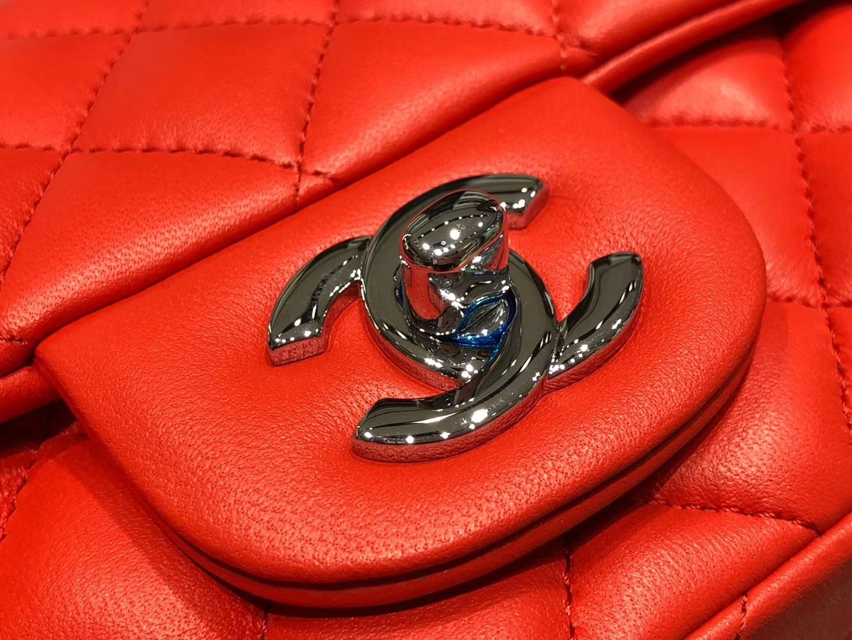 Chanel(香奈儿)cf # 链条包 中国红 羊皮 银扣 银链 17cm