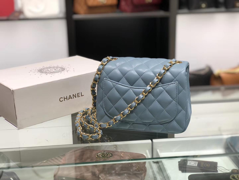 Chanel(香奈儿)cf # 链条包 杏仁绿 金扣 金链 17cm