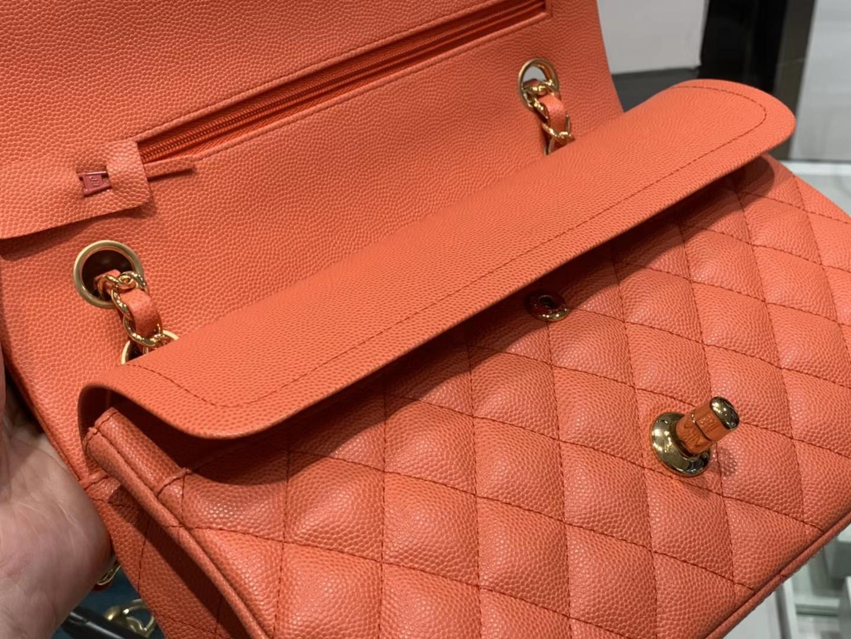 Chanel(香奈儿)cf # 链条包 橙色 细球纹 金扣 金链 25cm