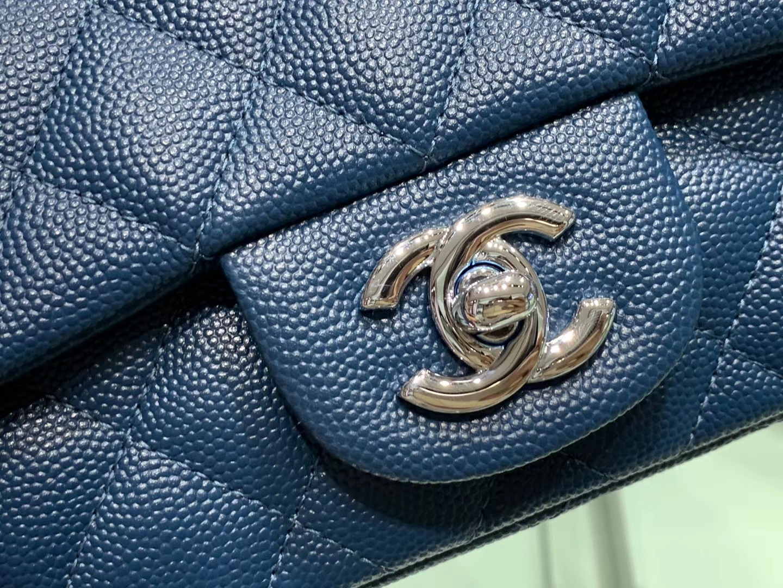 Chanel(香奈儿)cf 链条包 细球纹 藏蓝色 银扣 银链 17cm