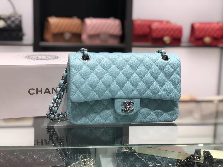Chanel(香奈儿)cf # 链条包 薄荷绿 银扣 银链 25cm