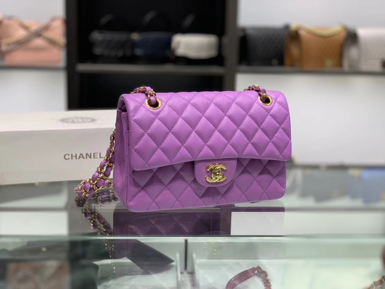 Chanel(香奈儿)cf # 链条包 香芋紫 金扣 金链 23cm