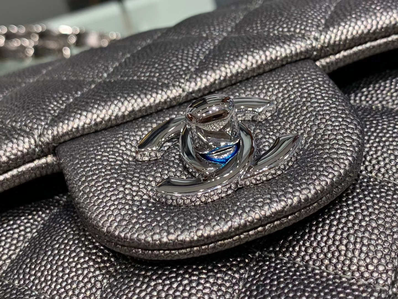 Chanel(香奈儿)cf # 链条包 银灰色 银扣 银链 23cm