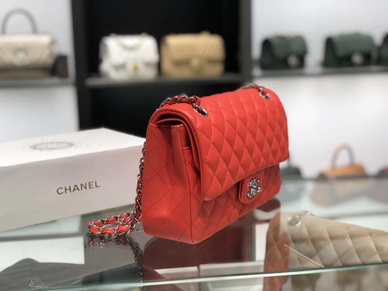 Chanel(香奈儿)cf # 链条包 中国红 银扣 银链 25cm