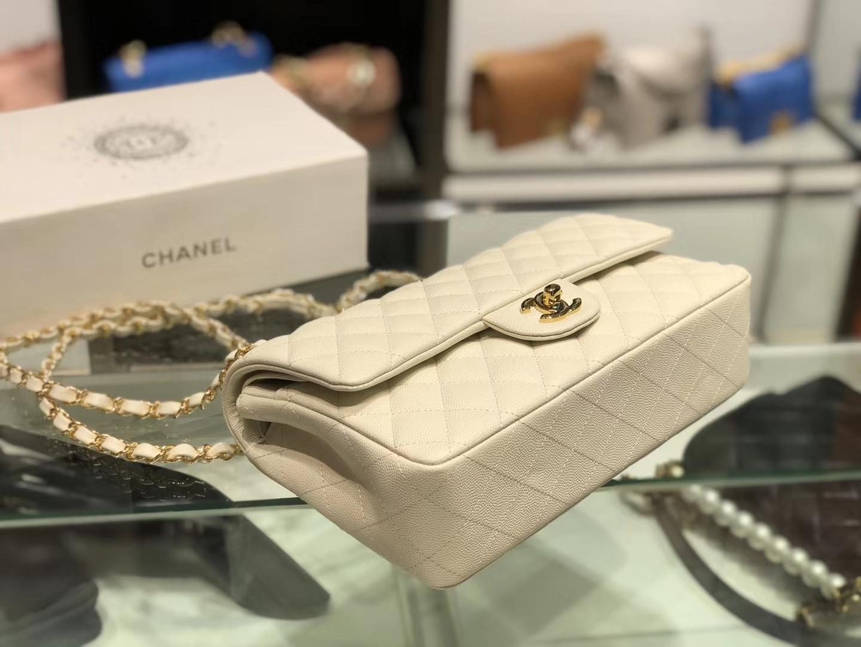 Chanel(香奈儿)cf # 链条包 奶昔白 金扣 金链 25cm