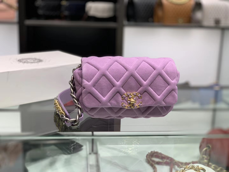Chanel(香奈儿)马卡龙紫色 19腰包 Jersey针织面料 优雅又休闲