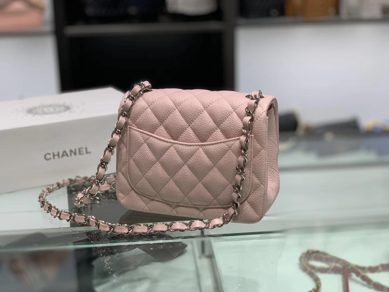 Chanel(香奈儿)cf # 链条包 浅粉色 银扣 银链 17cm