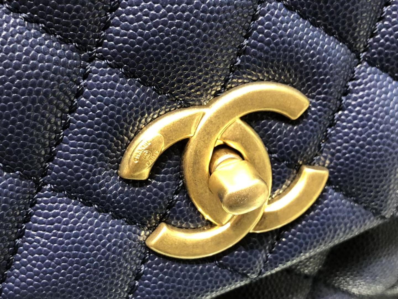 Chanel(香奈儿)coco handle # 中号 菱格包 藏蓝色 金扣 29cm