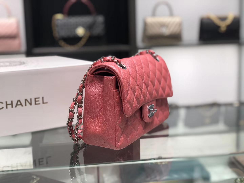 Chanel(香奈儿)cf # 链条包 桃粉色 银扣 银链 23cm