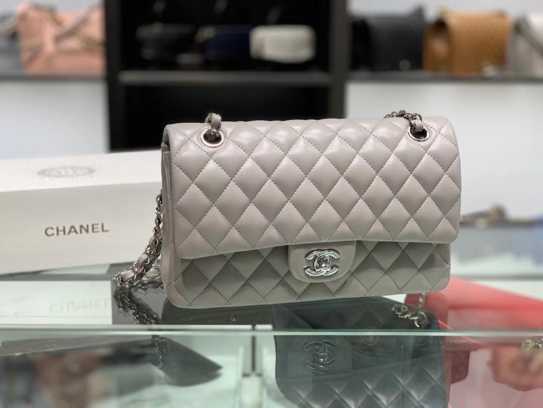 Chanel(香奈儿)cf # 链条包 斑鸠灰 细球纹 银扣 银链 25cm