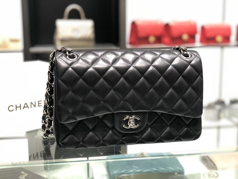 Chanel(香奈儿)cf # 链条包 羊皮 黑色 银扣 银链 30cm