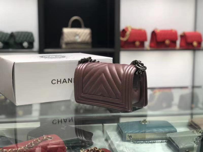 Chanel(香奈儿)Leboy # 球纹皮配搭复古银 豆沙色 V纹 20cm